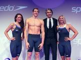 (L-R) Georgia Hohmann, Adam Brown and Rebecca Adlington (Far R) pose with television presenter George Lamb  during the Speedo Fashion Show and Fastskin3 Racing System Launch in London, England.