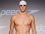 Michael Phelps on a stage during the new Speedo FASTSKIN 3 debut at Skylight Studios in New York City.
