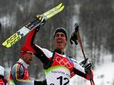 Felix Gottwald of Austria wins the overall Gold Medal in the Nordic Combined on Day 11 of the 2006 Turin Winter Olympic Games on February 21, 2006 in Pragelato Plan, Italy.