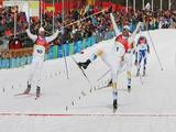 Bjoern Lind of Sweden celebrates winning the Gold Medal in the Mens Cross Country Skiing Sprint Final.