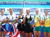 Helen Glover and Heather Stanning of Great Britain (silver), Juliette Haigh and Rebecca Scown of New Zealand (gold), Sarah Tait and Kate Hornsey of Australia (bronze) celebrate with their medals after the Women's Pair final during the FISA Rowing World Championships at Lake Bled in Bled, Slovenia.