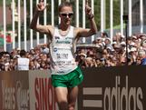 Jared Tallent celebrates after crossing the finish line in the competition of men's 50 km IAAF World Race Walking Cup 2012 on May 13, 2012 in Saransk, Russia. Jared finished the race in third place behind Sergey Kirdyapkin and Igor Erokhin of Russia.