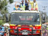 Baton relay - Goroka, Eastern Highlands Province Team on Goroka Firetruck.