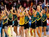 The Australia team celebrates defeating China in their basketball game held at the Wukesong Indoor Stadium during Day 13 of the Beijing 2008 Olympic Games on August 21, 2008 in Beijing, China.<br />
