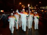 The Sochi 2014 Olympic Torch Relay continues in the dark of night in Moscow on Day 2.
