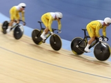 Matthew Glaetzer, Scott Sunderland and Shane Perkins of Australia compete in the Men's Team Sprint Track Cycling Qualifying on Day 6 of the London 2012 Olympic Games at Velodrome on August 2, 2012 in London, England.