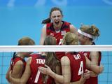 Players of USA celebrate during the Girls Volleyball Semifinal match between USA and Japan. USA won by 3-0.