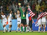 The United States team celebrate after winning the Women's Football Gold Medal match between Brazil and the United States 0-1.