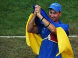 <p>Gold medalist Viktor Ruban of Ukraine celebrates after winning the Men's Individual Final at the Olympic Green Archery Field on Day 7 of the Beijing 2008 Olympic Games on August 15, 2008 in Beijing, China.</p>