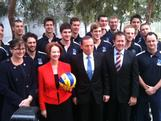 The 12 players in the Olympic Volleyball Team were named at Parliament House on June 27 with the Prime Minister Julia Gillard, Opposition Leader Tony Abbott, Sports Minister Kate Lundy and and Opposition Sports Minister Luke Hartsuyker.