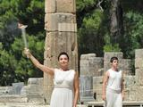 Greek dancer Ino Menegaki, who plays the High Priestess holds the Flame for the Singapore 2010 Youth Olympic Games.