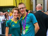 Walkers Claire and Jared Tallent (silver - 50km walk) enjoy their homecoming as they celebrate with Brisbane fans.