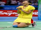 Zhang Ning of China celebrates winning the women's singles badminton gold medal match over Xie Xingfang of China at the Beijing University of Technology Gymnasium on Day 8 of the Beijing 2008 Olympic Games on August 16, 2008 in Beijing, China.