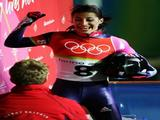 Silver Medal winner Shelley Rudman of Great Britain celebrates after the Womens Skeleton Single Final.