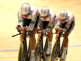 Annette Edmondson, Melissa Hoskins and Josephine Tomic of Australia compete in the Womens Team Pursuit Gold Medal Race at Hisense Arena on April 5, 2012 in Melbourne, Australia. The women took home the silver behind Great Briatain