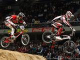 Sam Willoughby (R) and Connor Fields of United States in action during the men's elite final during the UCI BMX Supercross World Cup at Palacio Deportes on March 27, 2010 in Madrid, Spain.