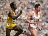 Allan Wells (right) of Great Britain on his way to victory in the 100m.