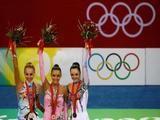 (L-R) Silver medalist Inna Zhukova of Belarus, gold medalist Evgeniya Kanaeva of Russia and Anna Bessonova of the Ukraine pose with their medals after the Individual All-Around final held at the University of Science and Technology Beijing Gymnasium on Day 15 of the Beijing 2008 Olympic Games on August 23, 2008 in Beijing, China.