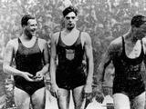 Paris 1924: Medal ceremony for the men's 400m freestyle: (from left) Andrew 'Boy' Charlton (AUS) with the bronze, John Weissmuller (USA) with gold, and Arne Borg (SWE) with the silver medal.
