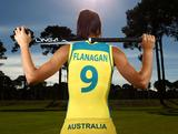 Anna Flanagan poses during an Australian women's Hockeyroos hockey portrait session at the Perth Hockey Stadium on May 25, 2012 in Perth, Australia.
