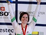 Anna Meares of Australia celebrates with the gold medal following her victory in the Women's Sprint Finals during day two of the UCI Track Cycling World Cup Classic at Manchester Velodrome