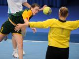 Australia Annalese Smith attempts a shot at goal during the Kazakhstan versus Australia women`s preliminary handball match. Kazakhatan beat Australia 45-16 at full time.