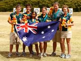 Gold medalists Elisa Barnard, Alice Ingley, Ashley Sim and Bronze medalists Mitchell James, Ryan Tyack and Taylor Worth of Australia poses for a photograph after the Mens and Women's Team events during day four of the Australian Youth Olympic Festival at the Sydney Olympic Archery Centre on January 17, 2009 in Sydney, Australia.
