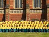 The Australian Athletics team poses during an Athletics Australia Olympic Media Day at Tonbridge Training Camp, 2012 in Tonbridge, England.