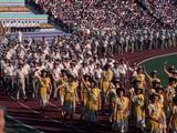 Australian athletes during the parade of nations at the Opening Cermony.