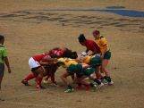 Australian rugby sevens Pacific Games Team in action against Tonga.