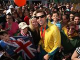 Swimmer Grant Hackett poses with fans during a welcome home parade for the Beijing 2008 Olympic Athletes at Federation Square in Melbourne. Australian Athletes secured 14 Gold, 15 Silver and 17 Bronze medals during the Beijing 2008 Olympic Games.