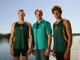 Luke Haniford (L) and Glenn Rypp (R) pose with Australian Olympic gold medallist and AYOF ambassador Ken Wallace (C) during the 2009 Australian Youth Olympic Festival in Sydney.