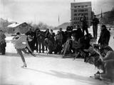 St Moritz 1948: Photographers watching the Canadian figure skater, Barbara Ann Scott, training before her event.