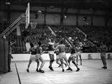 London 1948: Players in action during a basketball match.