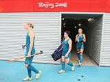 (L-R) Megan Rivers #6, Melanie Wells #25 and Casey Eastham #4 of Australia walk out to the pitch during practice session at the Olympic Green Hockey Field ahead of the Beijing 2008 Olympic Games.