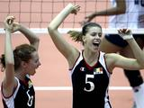 Laura Heyrman (R) and Delfien Brugman of Belgium celebrate during the Girls Volleyball Semifinal match