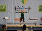 Weightlifter Belinda Van Tienen in action at the 2015 Pacific Games.