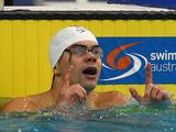 Benjamin Treffers celebrates winning the Final of the Men's 100 Metre Backstroke during the 2011 Australian Swimming Championships at Sydney Olympic Park Aquatic Centre.