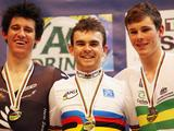 Jesse Sergent of New Zealand (silver), Jack Bobridge of Australia (gold) and Michael Hepburn of Australia (bronze) stand proudly on the podium after the Men's Individual Pursuit at the UCI Track World Championship at the Omnisport arena in Apeldoorn, Netherlands.