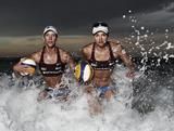 Louise Bawden (L) and Becchara Palmer (R) of Australia pose during an Australian Beach Volleyball portrait session at Manly Beach on April 2, 2012 in Manly, Australia.