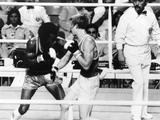 Montreal 1976:  Boxers Leonard Ray, (left), and Limazov Valbry during a match between the USA and USSR. Ray would later become World Middleweight champion and better known as 'Sugar Ray Leonard'.