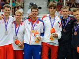 (From Left to right): Boys doubles tennis silver medallists Victor Baluda and Mikhail Biryukov of Russia, Gold medallists Oliver Golding of Great Britain and Jiri Vesely of the Czech Republic, and Bronze medallists Filip Horansky and Jozef Kovalik