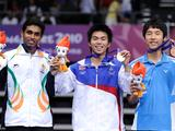 The silver medallist Hassena Sunil Kumar Prannoy of India, the gold medallist Poodchalat Pisit of Thailand and the bronze medallist Kang Ji Wook of South Korea