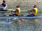 (L-R) Scott Brennan and David Crawshay (front) row in the men's double sculls during Day 2 of the 2012 Samsung World Rowing Cup III on Lucerne Rotsee on May 26, 2012 in Lucerne, Switzerland.