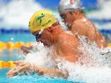 Brenton Rickard races in the Mens 100 Metre Breaststroke Final during the 2011 Australian Swimming Championships at Sydney Olympic Park Aquatic Centre