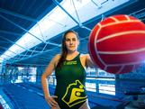 Bronwen Knox poses during an Australian Olympic Games Water Polo team portrait session at the AIS on June 13, 2012 in Canberra, Australia.