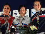 Shanaze Reade (2nd) of Great Britain, Caroline Buchanan (1st) of Australia and Eva Ailloud (3rd) of France stand on the podium after the final of the Women's Time Trial on day two of the UCI BMX World Championships at NIA Arena on May 25, 2012 in Birmingham, England.