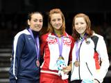 Egoryan Yana (C) of Russia claims the champion during the Cadet Famale Individual Sabre final. Celina Merza of USA (L) holds the silver medal and Musch Anja of Germany gets the bronze.