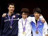 Edoardo Luperi of Italy (gold, c), Alexander Massialas (silver, L) of USA and Lee Kwang Hyun (bronze) of Korea Republic