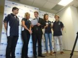 Sam Rawlings hosts a media call for the Australian Youth Olympic Team update with (L to R) Daniel Clopatofsky, Susie O'Neill, Marina Carrier and Angus Thompson at at Museum of Contemporary Art on June 18, 2014 in Sydney, Australia.
